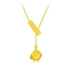 【电商专款】周大福 珠宝首饰方形磐石迷你小金砖纸团足金黄金项链