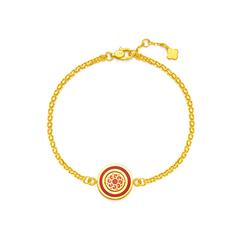 周大福 传承系列 敦煌煌踩红色珐琅足金黄金手链