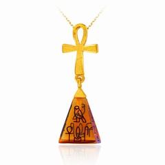 埃及系列光沙琥珀金字塔足金吊坠