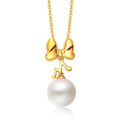 迪士尼经典蝴蝶黄色18K金镶珍珠吊坠