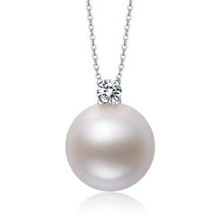 周大福闪耀钻石珍珠白色18K金吊坠