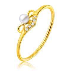 时尚黄色18K金镶珍珠戒指