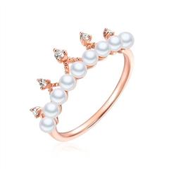 周大福小心意系列玫瑰色18K金珍珠皇冠戒指