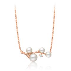 【网店尊享款】周大福树枝玫瑰色18K金珍珠钻石项链