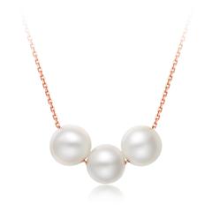 周大福时尚淡水珍珠简约玫瑰色18K金镶珍珠项链