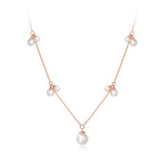周大福时尚淡水珍珠玫瑰色18K金珍珠项链