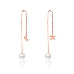 时尚淡水珍珠星月灿烂18K金镶珍珠耳线