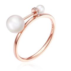 时尚淡水珍珠玫瑰色18K金镶珍珠钻石戒指