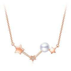 周大福 Y时代 星愿系列《初恋那件小事》同款 18K金镶珍珠钻石项链/吊坠
