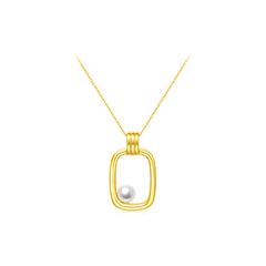 周大福 至真系列 18k黄金黄珍珠项链