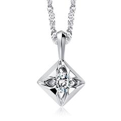 周大福 骄人系列 白18K金钻石戒指