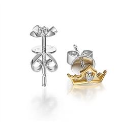 迪士尼公主系列十字架王冠白色18K金钻石耳钉