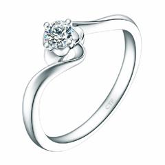 【刻字】扭身白色18K金镶钻石戒指