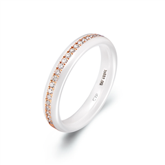 瓷爱一生-炽爱陶瓷18K金镶钻石戒指(白)