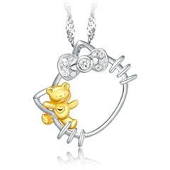 周大福 Hello Kitty凱蒂貓 小熊18K金鉆石吊墜