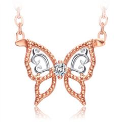 周大福迪士尼公主灰姑娘18K玫瑰金钻石项链