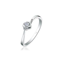 【刻字】周大福小心意系列时尚之花白色18K金镶钻石戒指
