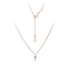 周大福小心意-Y时代系列玫瑰色18K金钻石项链