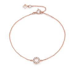 周大福小心意系列Y时代玫瑰色18K金镶钻石手链