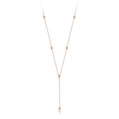 周大福小心意-Y时代玫瑰色18K金镶钻石项链