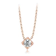 Y时代简约大方玫瑰色18K金镶钻石项链