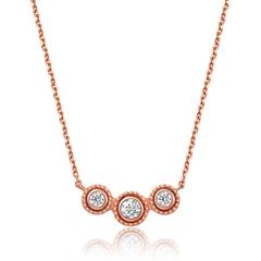 【Y时代】周大福小心意系列系列玫瑰色18K金钻石项链