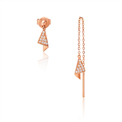 幸福折纸系列玫瑰色18K金镶钻石耳钉