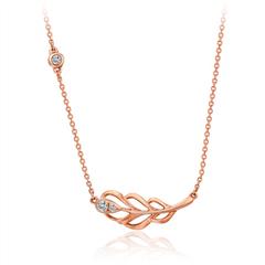 周大福爱情羽毛系列玫瑰色18K金钻石项链