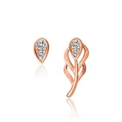 周大福Y时代 爱情羽毛系列 玫瑰色18K金钻石守护爱情耳钉