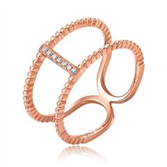 周大福小心意系列Y时代系列玫瑰色18K金钻石戒指