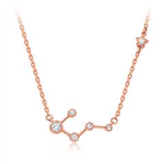 周大福╳小风子 Y时代  小心意系列 北斗星款玫瑰色18K金钻石项链