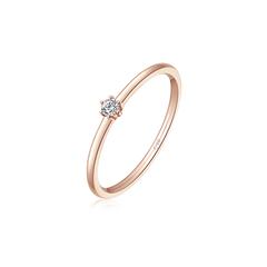 【电商专款】【刻字】周大福Y时代 时尚简约18K金玫瑰金钻石戒指