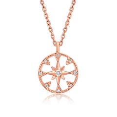 周大福 小心意系列 玫瑰金18k金彩金钻石项链