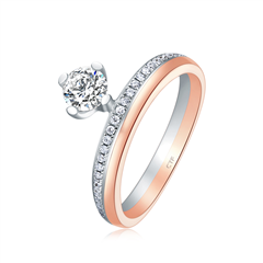 周大福 偏爱系列 简约18k金钻石戒指