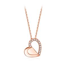 周大福 小心意系列 爱情公寓合作款 爱心18K金钻石项链