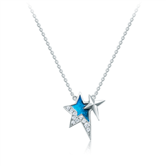 【官网专款】周大福 璀璨夜耀星月之梦 18K金镶钻星星吊坠