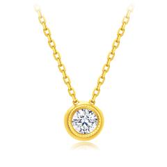 【电商专款】周大福Y时代 美得冒泡 18K金彩金钻石项链