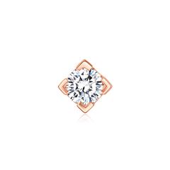 周大福 小心意系列 简约方形18K金钻石耳钉耳饰(单只)