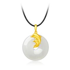 跃动海豚黄金足金镶和田玉吊坠