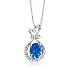 婚嫁蓝色海洋18K金镶坦桑石钻石项链