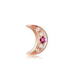 周大福 焕美系列 STELLA月亮18K金红宝石钻石耳钉(单只)