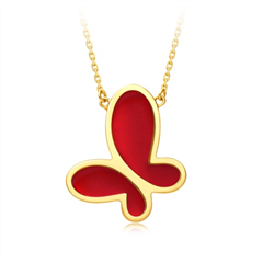 周大福 17916系列 无敌蝴蝶22K金红玛瑙项链
