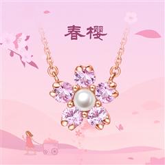 【電商專款】周大福 精致花型 18K金彩金紅寶石珍珠項鏈
