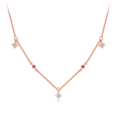 周大福简约时尚18K金镶红宝石钻石项链