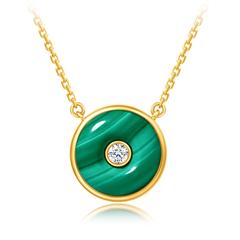 周大福 时尚几何圆形18K金孔雀石钻石项链