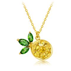 【電商專款】周大福 Y時代甜蜜漿果 帕納珀 菠蘿18K金鑲寶石項鏈