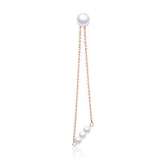 周大福SOINLOVE 宝藏女孩套系 个性几何形18K金镶珍珠耳钉(单只)