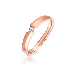 周大福SOINLOVE 经典款18K玫瑰金镶钻石戒指