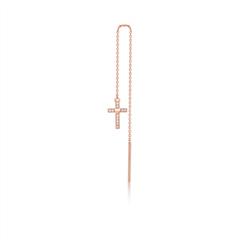 周大福SOINLOVE 小确幸系列 十字18K金钻石耳钉耳线(单只)