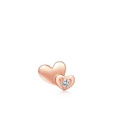 周大福SOINLOVE 小确幸系列 心形18K金钻石耳饰(单只)